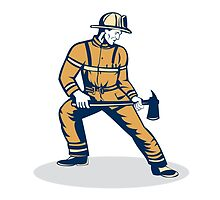 Fireman Firefighter Standing Holding Fire Axe by patrimonio