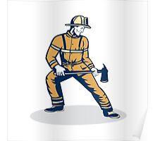 Fireman Firefighter Standing Holding Fire Axe Poster