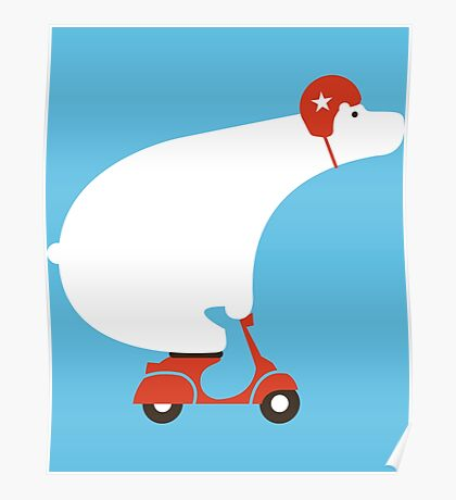 Polar Bear On Scooter Poster