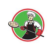 Pizza Maker Holding Peel Circle Retro by patrimonio