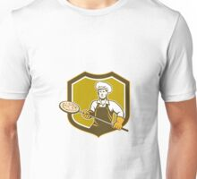 Pizza Maker Holding Peel Shield Retro	 Unisex T-Shirt