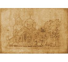 Vintage drawing of church Photographic Print