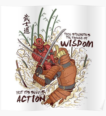 Japanese Samurai Warriors Cartoon - Bushido Code Poster