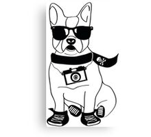 Hipster French Bulldog - Cute Dog Cartoon Character - Frenchie Canvas Print
