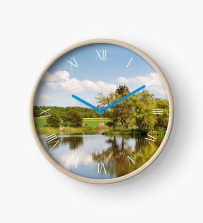 Lake and trees bucolic landscape Clock