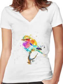 Artistic - IV - Colorful bird Women's Fitted V-Neck T-Shirt