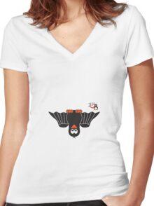 Halloween Penguin - Bat Women's Fitted V-Neck T-Shirt