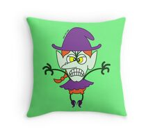 Scary Halloween Witch Emoticon Throw Pillow