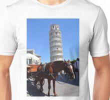 8 August 2016 Horse ride in The Piazza dei Miracoli (Piazza del Duomo), located in the city of Pisa, Toscany, Italy.  Unisex T-Shirt