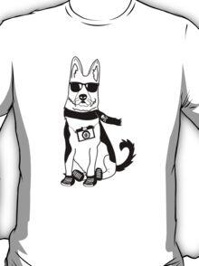 Hipster German Shepherd / Alsatian - Cute Dog Cartoon Character T-Shirt