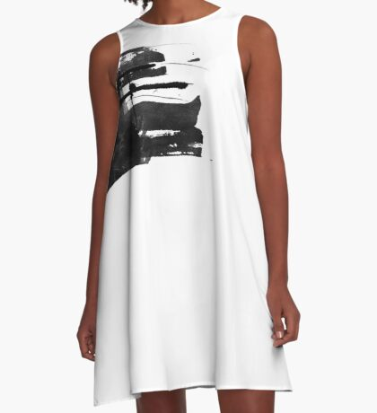 Black #abstract  A-Line Dress