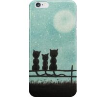 Cats Art: Three Cats with Tree Moon and Stars iPhone Case/Skin