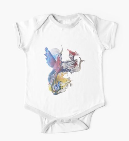 Phoenix Rising and Masked Mermaid (Original Art Drawing by Alice Iordache) One Piece - Short Sleeve