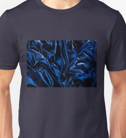Navy blue glossy crumpled satin Unisex T-Shirt