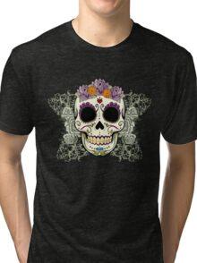 Vintage Skull and Flowers Tri-blend T-Shirt