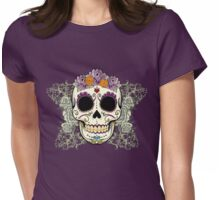Vintage Skull and Flowers Womens Fitted T-Shirt