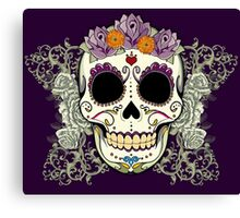 Vintage Skull and Flowers Canvas Print