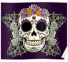 Vintage Skull and Flowers Poster