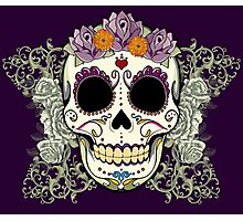 Vintage Skull and Flowers Photographic Print
