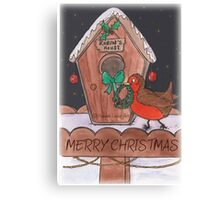 Robin Decorating for Christmas Canvas Print