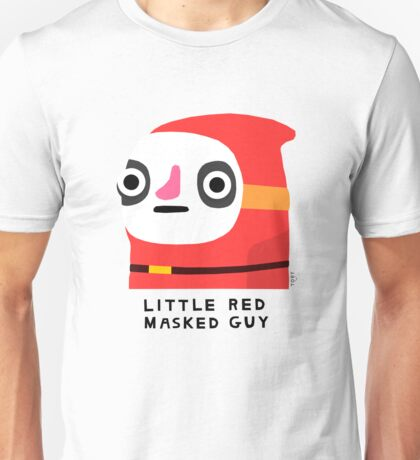 Little red masked guy (black text) Unisex T-Shirt
