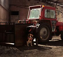 Study of a Tractor, With a Farmer and a Dog by thegreendogs