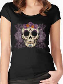 Vintage Skull and Roses Women's Fitted Scoop T-Shirt