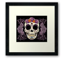 Vintage Skull and Roses Framed Print