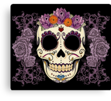Vintage Skull and Roses Canvas Print