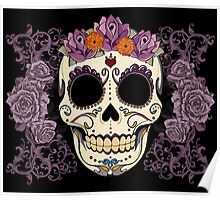 Vintage Skull and Roses Poster