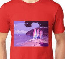 Beach Surfing in the Caribbean Sea (Pink) Unisex T-Shirt