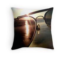 Dawn through glasses Throw Pillow