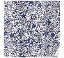 Seamless texture with blue flowers Poster