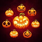 Halloween Cartoon Pumpkins by Voysla