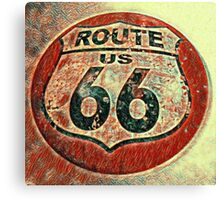 Historic Route Sixty Six Vintage Poster Canvas Print
