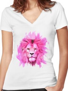 Pink Lion Women's Fitted V-Neck T-Shirt