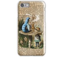 Alice,Mushroom and Jin,Vintage Dictionary Art iPhone Case/Skin