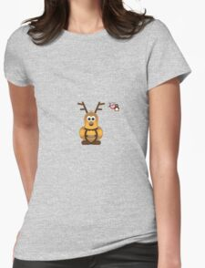 Christmas Penguin - Prancer Womens Fitted T-Shirt
