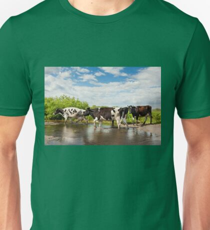 Cows walking across puddle Unisex T-Shirt