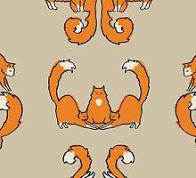 Cat damask brown  by Yael Kisel
