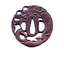 Dragon, Tsuba, Iaido, Samurai, Katana, Japanese, Japan, Sword Guard, on WHITE Photographic Print