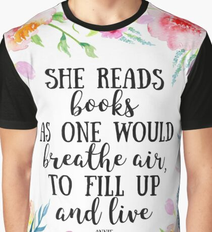 She reads  Graphic T-Shirt