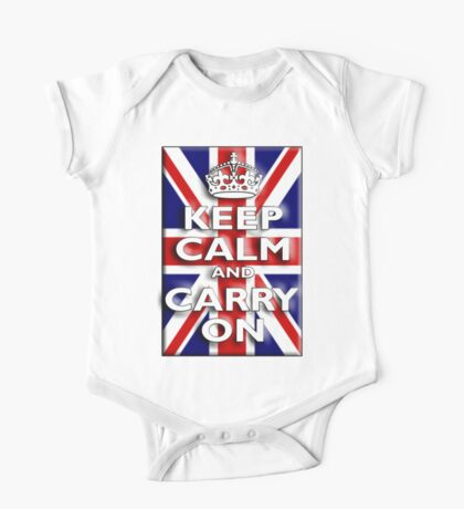 Keep Calm, & Carry On, Union Jack, Flag, Blighty, UK, GB, Be British! One Piece - Short Sleeve