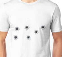 Multiple Bullet Holes Close Call Unisex T-Shirt