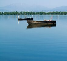 Boats in lake Kerkini by alex77kar
