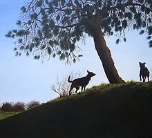 Dogs in park snow landscape painting realist art   by pollywolly