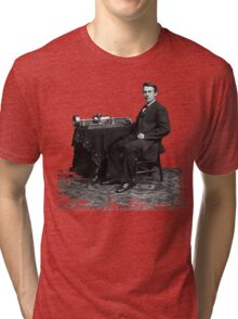 Edison and his invention the phonograph in 1878 Tri-blend T-Shirt