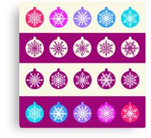 Set of Christmas Balls with White Snowflakes in Shades of Blue, Lilac and Radiant Orchid on Striped Background Canvas Print