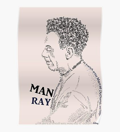 typography portrait of MAN RAY Poster