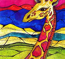 Colorful Giraffe in nature by corsographics